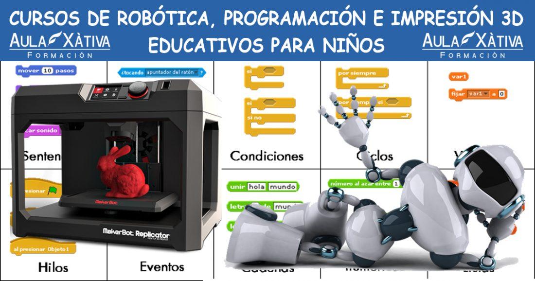 cursos de robótica, programación e impresión 3d para niños