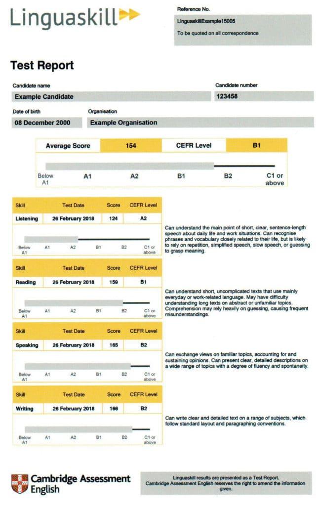 Informe de resultados del examen Cambridge Liniguaskill Aula Xàtiva Formación